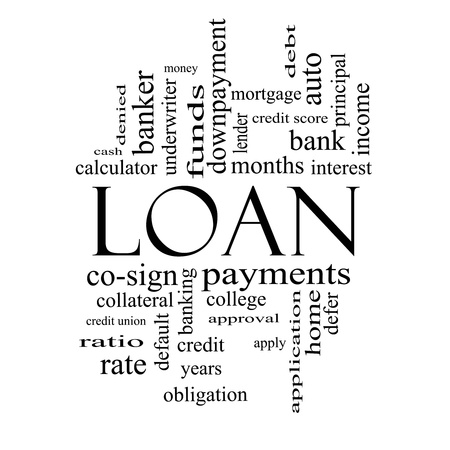 credit score: Loan Word Cloud Concept in black and white with great terms such as rates, interest, bank, money and more. Stock Photo