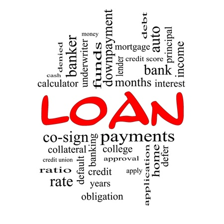 underwriter: Loan Word Cloud Concept in red caps with great terms such as rates, interest, bank, money and more.