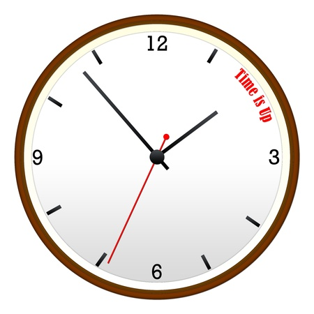 Time Is Up concept on a Wooden Wall Clock with hour, minutes, and second hand.