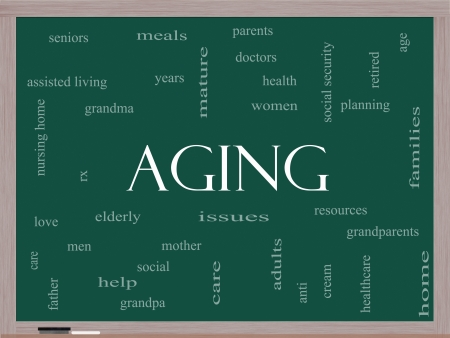 Aging Word Cloud Concept on a Blackboard with great terms such as seniors, elderly, adults, social and more. Stock Photo