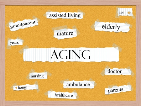 Aging Corkboard Word Concept with great terms such as mature, elderly, years, and more. Stock Photo - 17801500