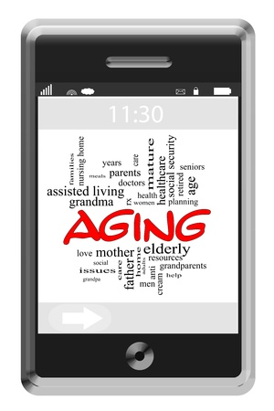 more mature: Aging Word Cloud Concept of Touchscreen Phone with great terms such as elderly, mature, grandparents and more. Stock Photo