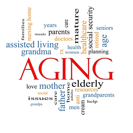 Aging Word Cloud Concept with great terms such as seniors, elderly, adults, social and more. Stock Photo