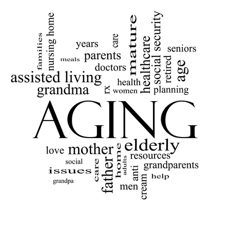 home health care: Aging Word Cloud Concept in black and white with great terms such as seniors, elderly, adults, social and more. Stock Photo