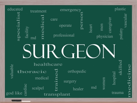 Surgeon Word Cloud Concept on a Blackboard with great terms such as operate, surgery, orthopedic, md and more. Stock Photo - 17801475