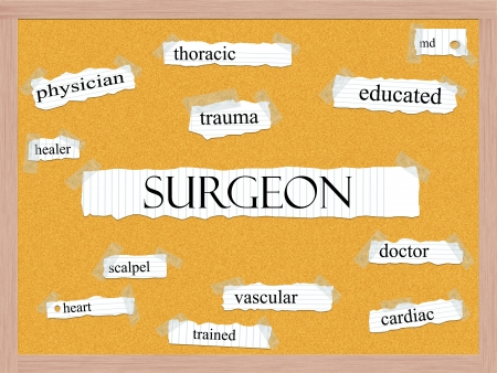 Surgeon Corkboard Word Concept with great terms such as trauma, physician, cardiac and more. Stock Photo - 17801499