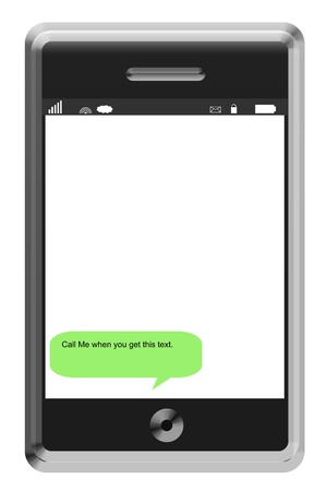 when: Call Me when you get this Text written on an imitation touch screen phone. Stock Photo