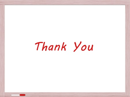 dry erase board: Thank You written on Dry Erase Board in red marker Stock Photo