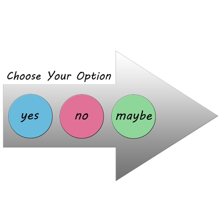 maybe: A Choose Your Option Arrow in gray with the colorful choices of Yes, No, or Maybe making a great concept.