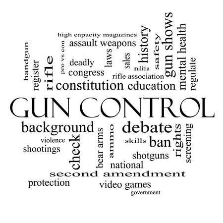 Gun Control Word Cloud Concept in black and white with great terms such as second, amendment, right, bear, arms, violence and more. photo
