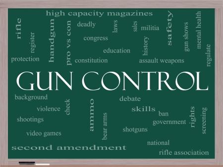 amendment: Control de armas nube de la palabra Concept on a Blackboard con t�rminos de calidad, como segunda enmienda, a la derecha, el oso, las armas, la violencia y mucho m�s.