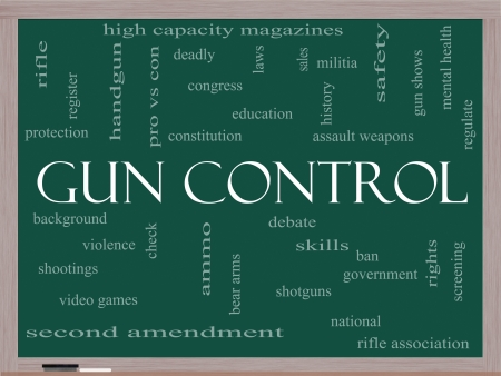 amendment: Gun Control Word Cloud Concept on a Blackboard with great terms such as second, amendment, right, bear, arms, violence and more.