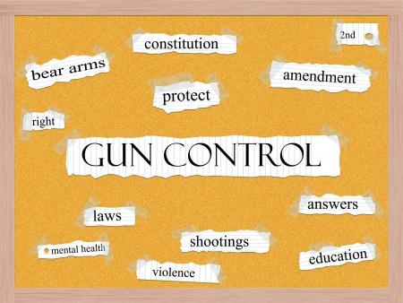 amendment: Control de armas Corkboard Word Concept con los t�rminos de la talla de proteger, enmienda, disparos, respuestas y mucho m�s.