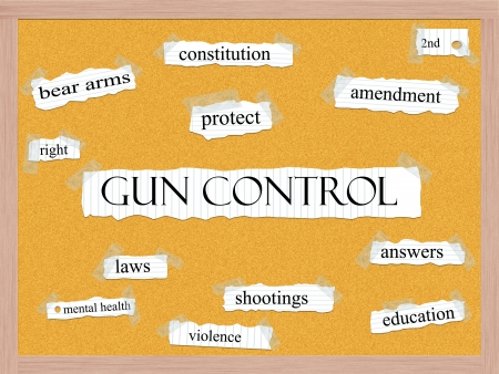 shootings: Gun Control Corkboard Word Concept with great terms such as protect, amendment, shootings, answers and more. Stock Photo