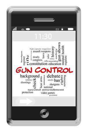 shootings: Word Cloud Concept of Touchscreen Phone with great terms such as and more. Stock Photo