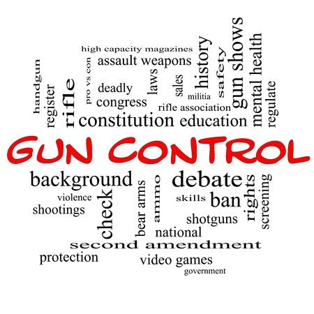 amendment: Control de armas nube de la palabra Concept en may�sculas rojas con grandes t�rminos como segunda enmienda, a la derecha, el oso, las armas, la violencia y mucho m�s.