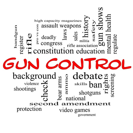 Gun Control Word Cloud Concept in Red Caps with great terms such as second, amendment, right, bear, arms, violence and more.