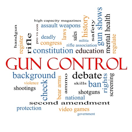 Gun Control Word Cloud Concept with great terms such as second, amendment, right, bear, arms, violence and more. photo