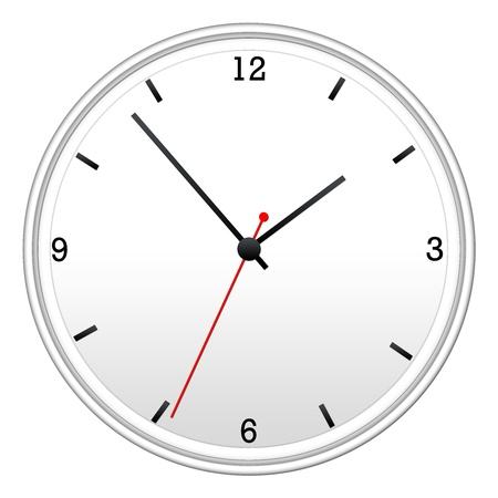White Wall Clock with hour, minutes, and second hand.