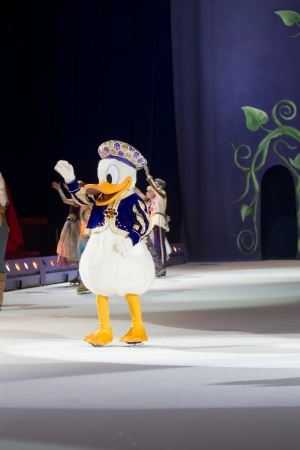 GREEN BAY, WI - MARCH 10: Waving Donald Duck on skates at the Disney on Ice Treasure Trove show at the Resch Center on March 10, 2012 in Green Bay, Wisconsin.