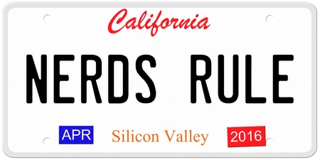 An imitation California license plate with April 2016 stickers and NERDS RULE written on it making a great concept.  Words on the bottom Silicon Valley. photo