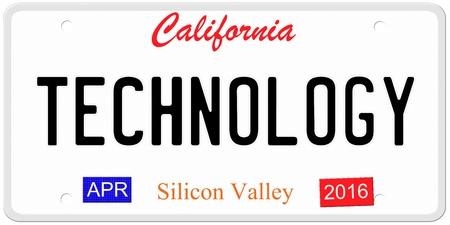 Een imitatie California kenteken met april 2016 stickers en TECHNOLOGIE geschreven op het maken van een geweldig concept. Woorden op de bodem Silicon Valley. Stockfoto