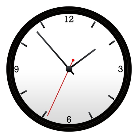 Black Wall Clock with hour, minutes, and second hand. Stock Photo