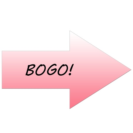 bogo: A BOGO (buy one get one) sale Red Arrow making a great sales shopping concept. Stock Photo