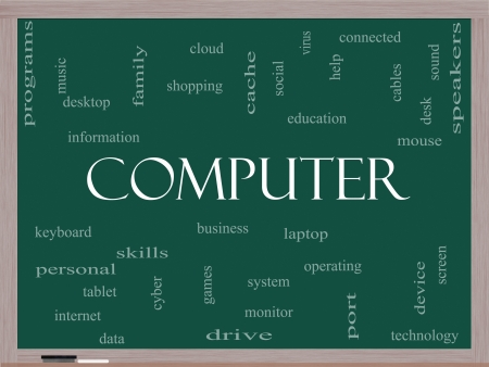 Computer Word Cloud Concept on a Blackboard with great terms such as laptop, tablet, social, cloud and more. Stock Photo - 17801549