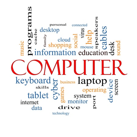 Computer Word Cloud Concept with great terms such as laptop, tablet, social, cloud and more. photo