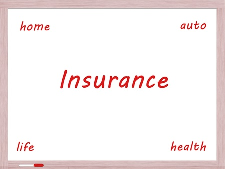 dry erase board: Insurance Dry Erase Board Concept with auto, life, health and home written in red.