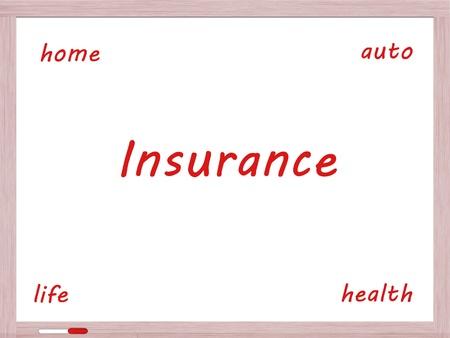 Verzekering Dry Erase Board Concept met auto, het leven, gezondheid en wonen in het rood geschreven.