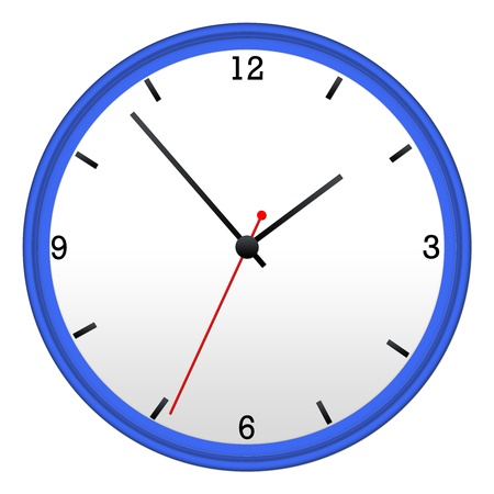 Blue Wall Clock with hour, minutes, and second hand.
