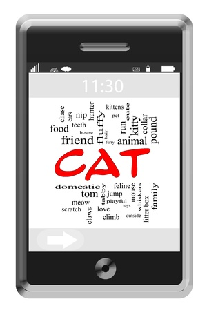 meow: Cat Word Cloud Concept of Touchscreen Phone with great terms such as kitty, meow, scratch and more.