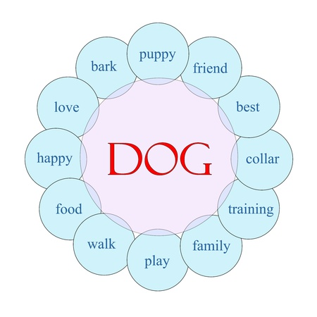 round collar: Dog concept circular diagram in pink and blue with great terms such as love, bark, puppy, friend and more. Stock Photo