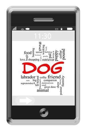Dog Word Cloud Concept of Touchscreen Phone with great terms such as bark, puppy, friend, love and more. Stock Photo - 17996198