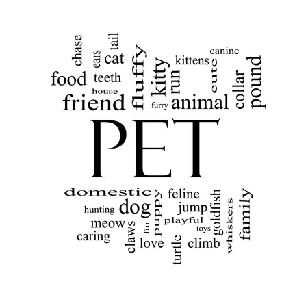 Pet Word Cloud Concept in black and white with great terms such as cat, turtle, dog, goldfish and more. Stock Photo - 17996219