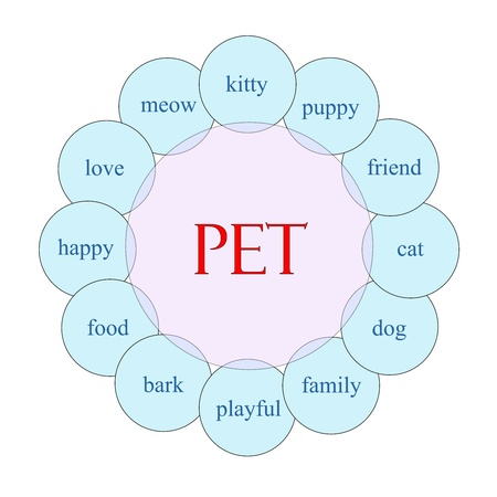 Pet concept circular diagram in pink and blue with great terms such as kitty, puppy, love and more. Stock Photo - 17996217