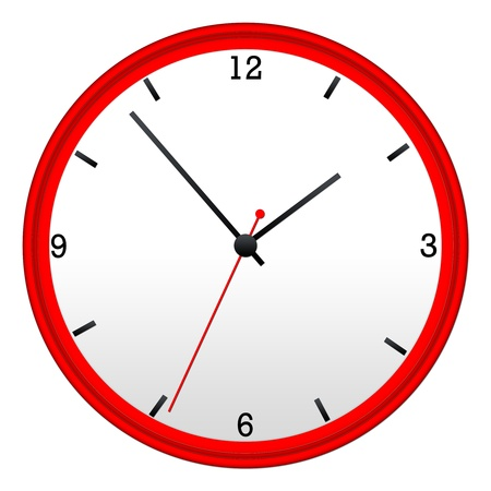 Red Wall Clock with hour, minutes, and second hand.