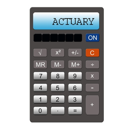 actuary: An imitation calculator with the word ACTUARY written on it making a great concept.