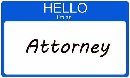 Hello I'm an Attorney written on a blue and white name tag sticker. Stock Photo - 17996226