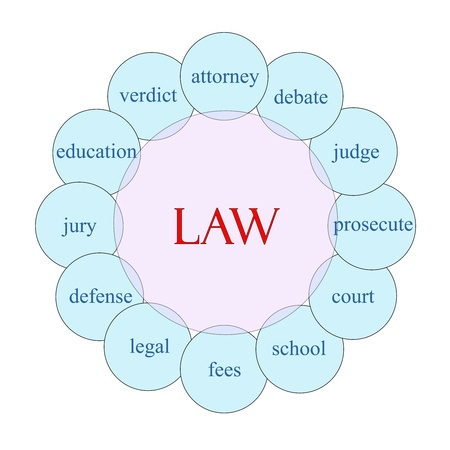 Law concept circular diagram in pink and blue with great terms such as verdict, attorney, judge and more.