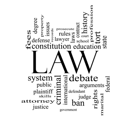 criminals: Law Word Cloud Concept in black and white with great terms such as defense, attorney, school, court and more.