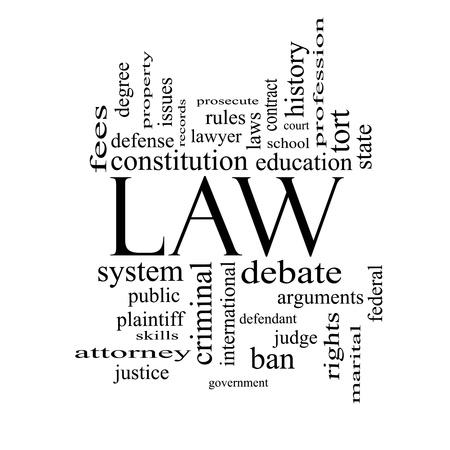 abogado: Palabra Nube Concepto Ley en blanco y negro con grandes t�rminos como la defensa, abogado, escuela, cancha y m�s.