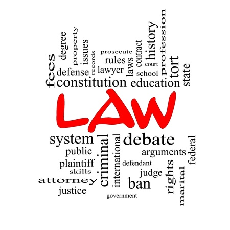international criminal court: Law Word Cloud Concept in red caps with great terms such as defense, attorney, school, court and more. Stock Photo