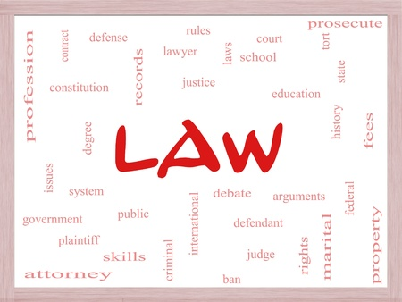 international criminal court: Law Word Cloud Concept on a Dry Erase Board with great terms such as defense, attorney, school, court and more. Stock Photo