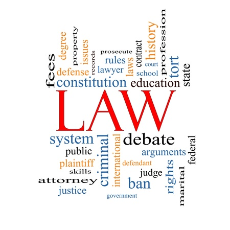 Law Word Cloud Concept with great terms such as defense, attorney, school, court and more. Stock Photo
