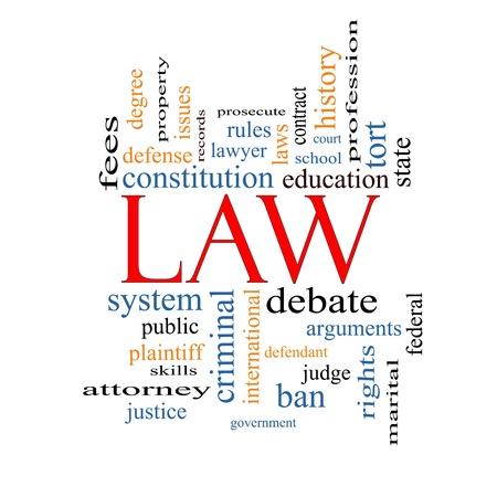 derecho penal: Palabra Nube Concepto Ley con grandes términos como la defensa, abogado, escuela, cancha y más. Foto de archivo