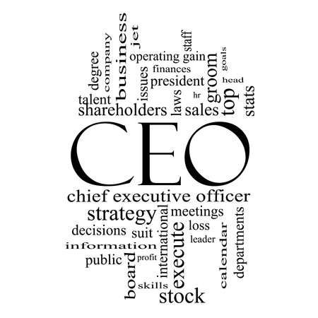 chief executive officers: CEO Word Cloud Concept in black and white with great terms such as operating gain, execute, leader and more.