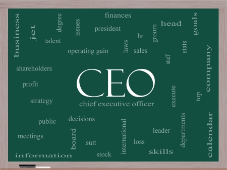 CEO Word Cloud Concept on a Blackboard with great terms such as operating gain, execute, leader and more. Stock Photo - 18020014
